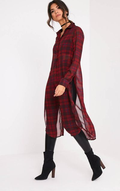 Leonie Red Soft Chiffon Check Longline Shirt