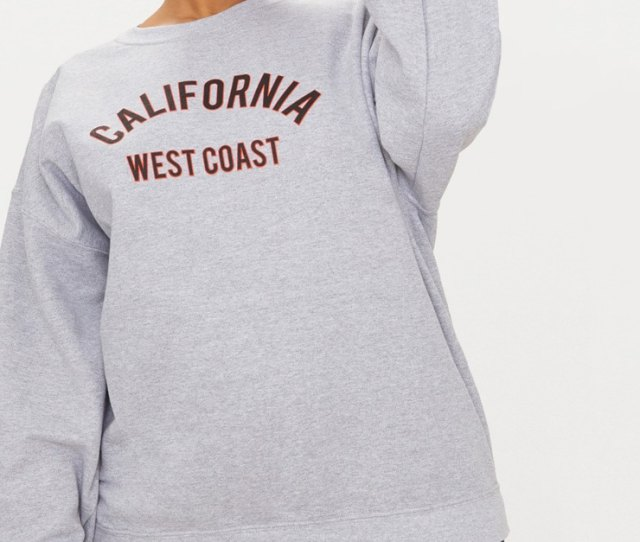 4724dca3a91d4 Plus Grey Marl California Slogan Oversized Sweater By Prettylittlething