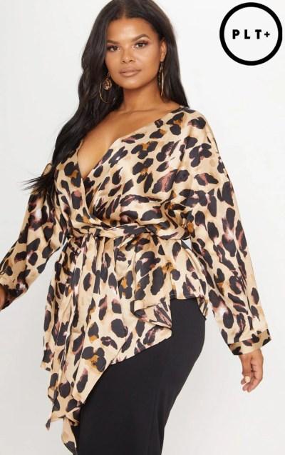 Plus Tan Leopard Print Woven Tie Waist Blouse