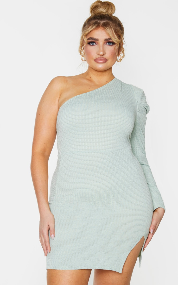 Plus Sage Green Textured Puff Sleeve One Shoulder Bodycon Dress 11