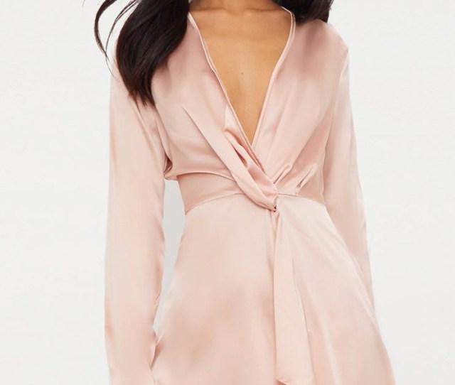 Nude Satin Long Sleeve Wrap Dress Image 1