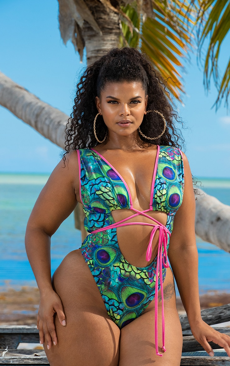 Plus Multi Peacock Print Cut Out Wrap Around Swimsuit 29