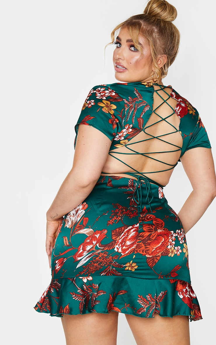 Plus Emerald Green Criss Cross Back Frill Hem Bodycon Dress 13