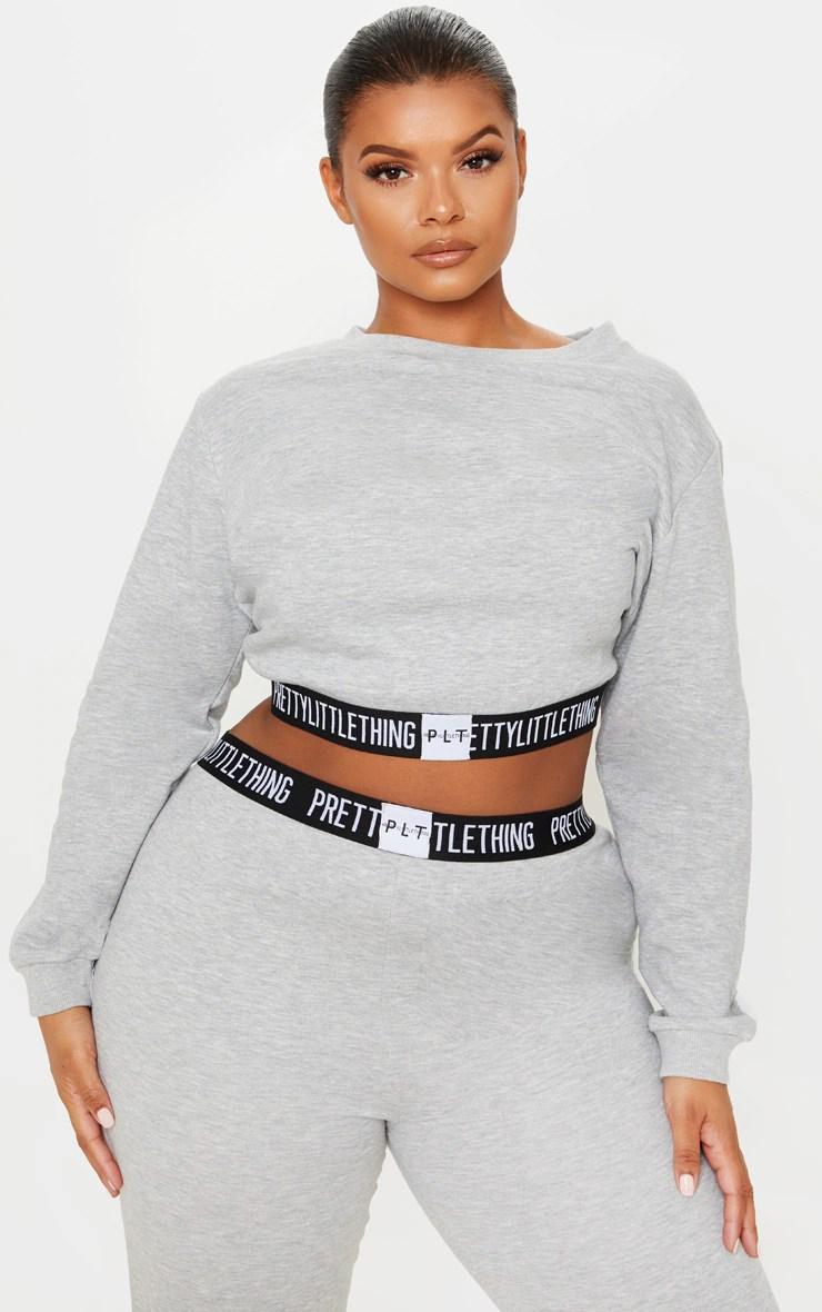 PRETTYLITTLETHING Plus Grey Lounge Sweater 4