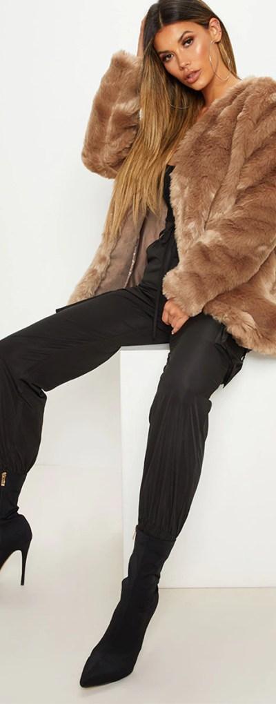 Brown Midi Faux Fur Coat
