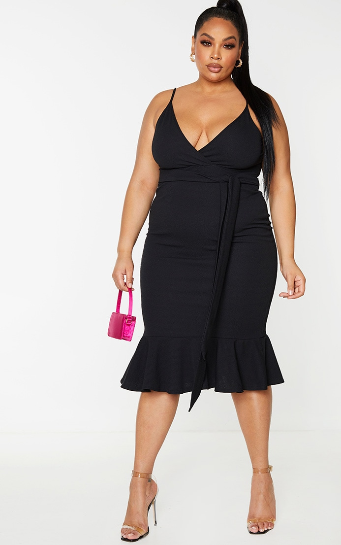 Plus Black Strappy Tie Waist Fishtail Midi Dress 9