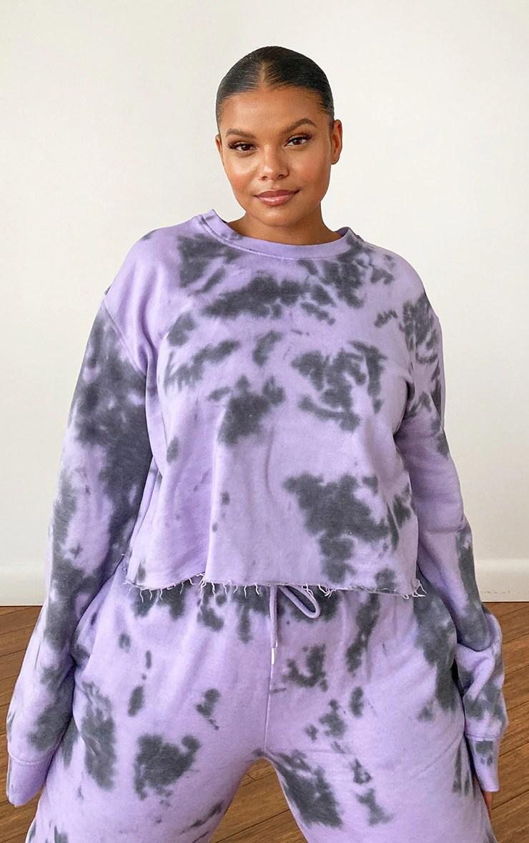 Plus Lilac Tie Dye Cropped Sweater 2