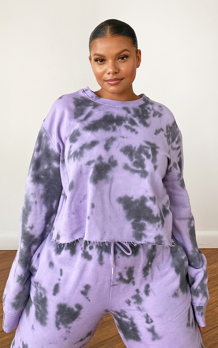 Plus Lilac Tie Dye Cropped Sweater 15