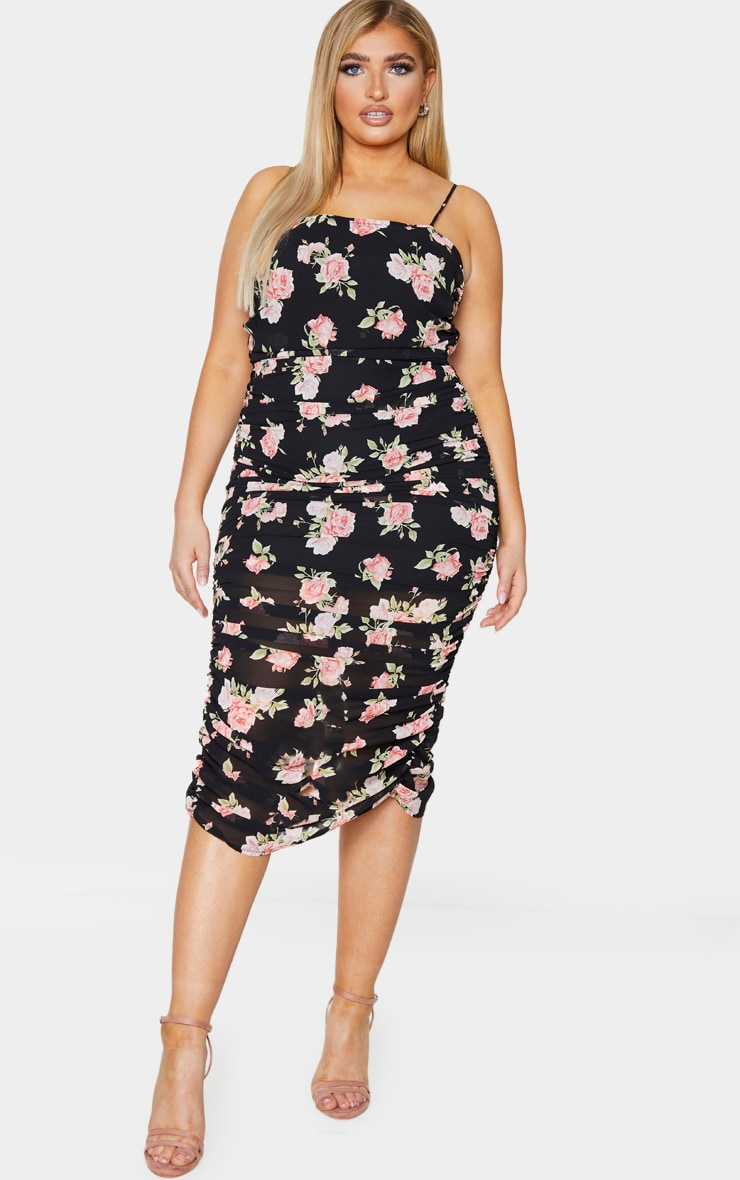Plus Black Floral Ruching Strappy Midaxi Dress 2