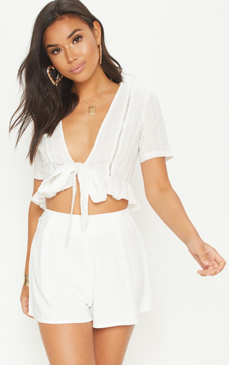WHITE BRODERIE ANGLAISE TIE FRONT FRILL HEM BLOUSE