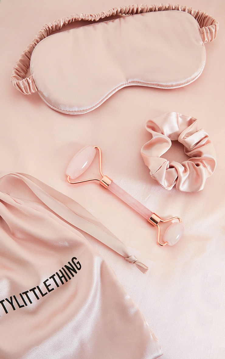 prettylittlething pink facial roller with sleep mask satin pillow case set
