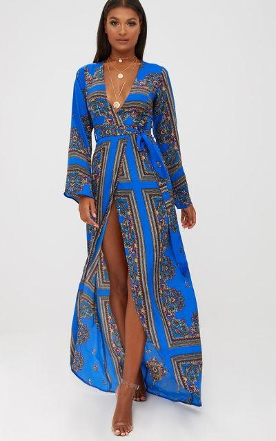 Cobalt Print Satin Kimono Maxi Dress