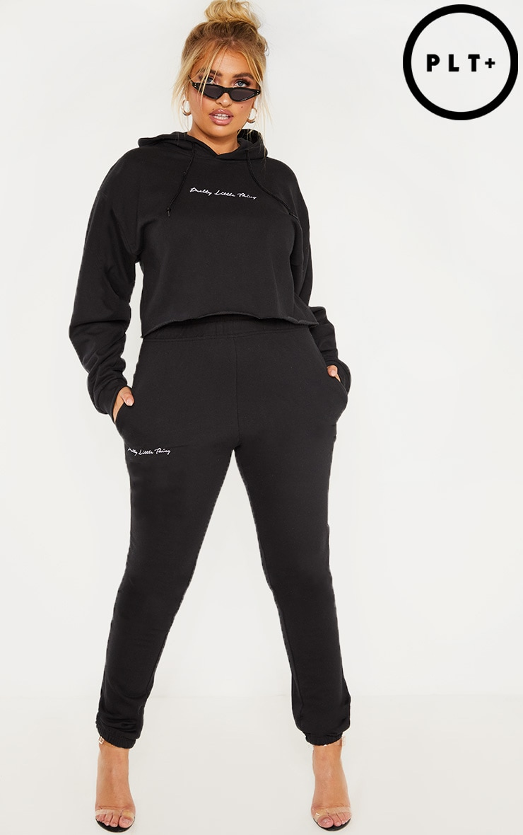 PRETTYLITTLETHING Plus Black Embroidered Cuff Jogger 2