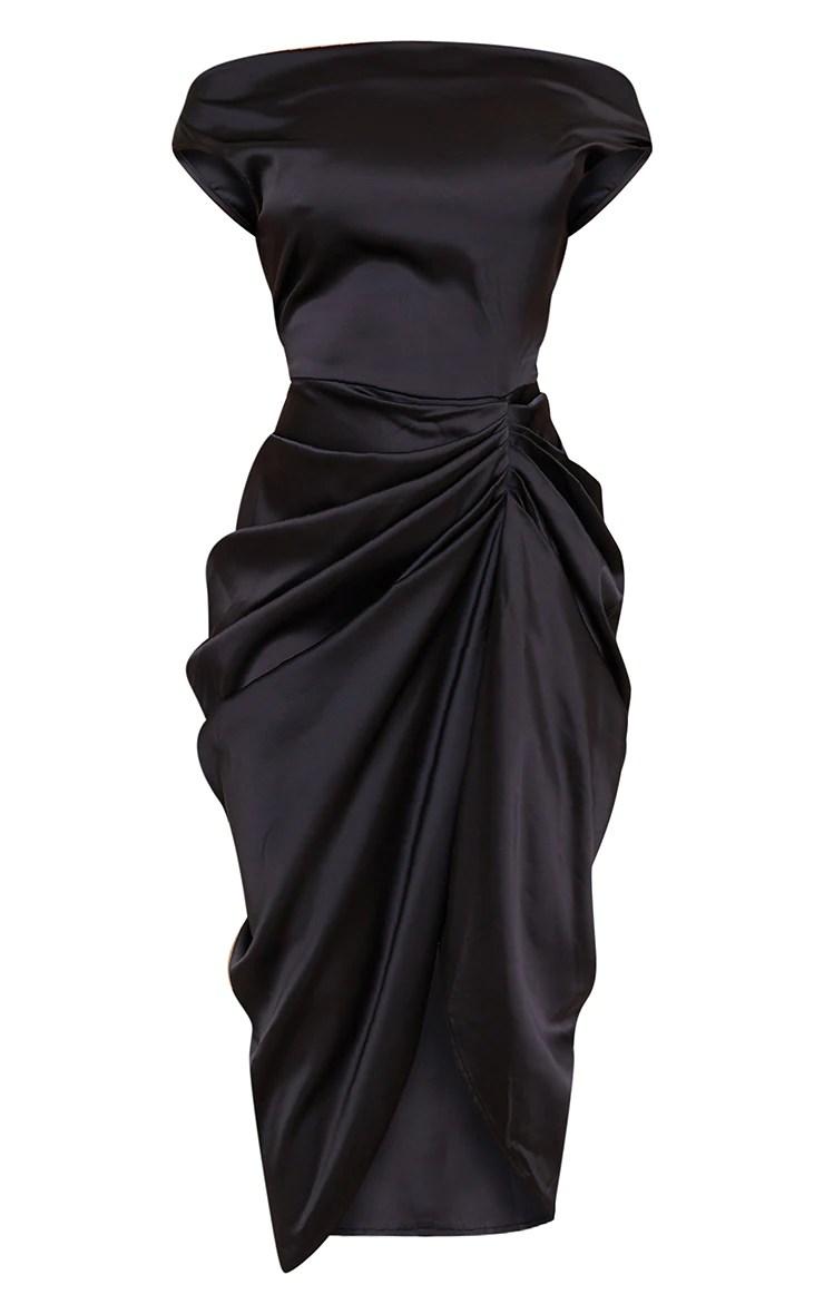 Black Satin Off The Shoulder Draped Skirt Dress | PrettyLittleThing IL