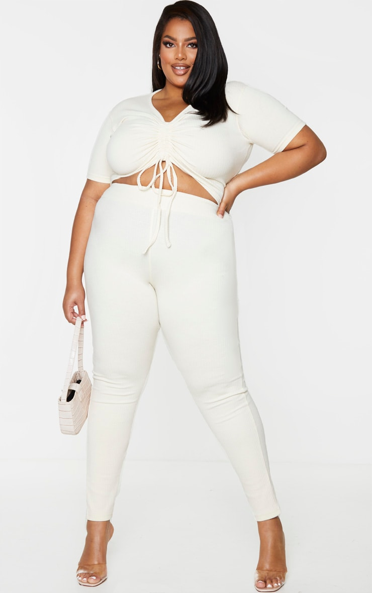 Plus Cream Thick Rib Leggings 5