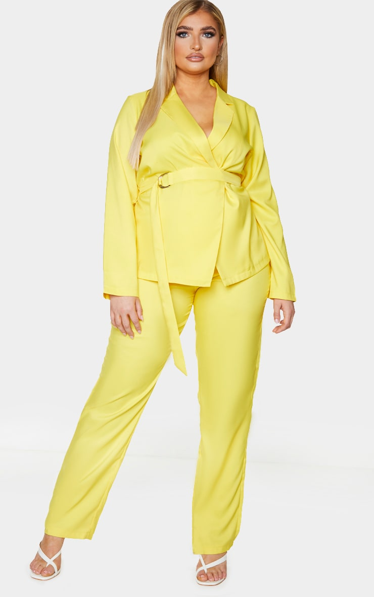 Plus Bright Yellow Tapered Straight Leg Pants 2