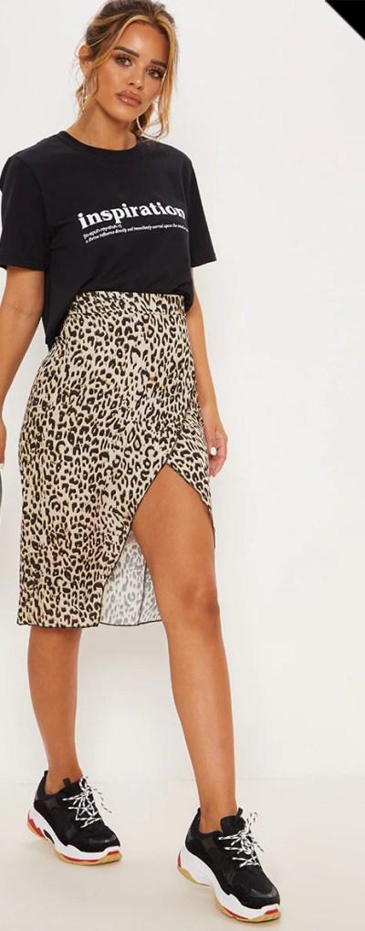 Petite Brown Leopard Wrap Pencil Skirt