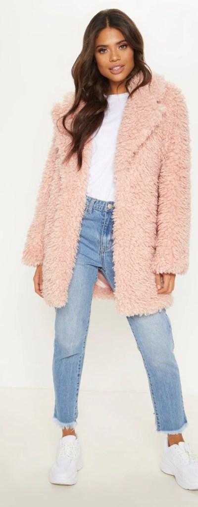 Pink Teddy Faux Fur Coat