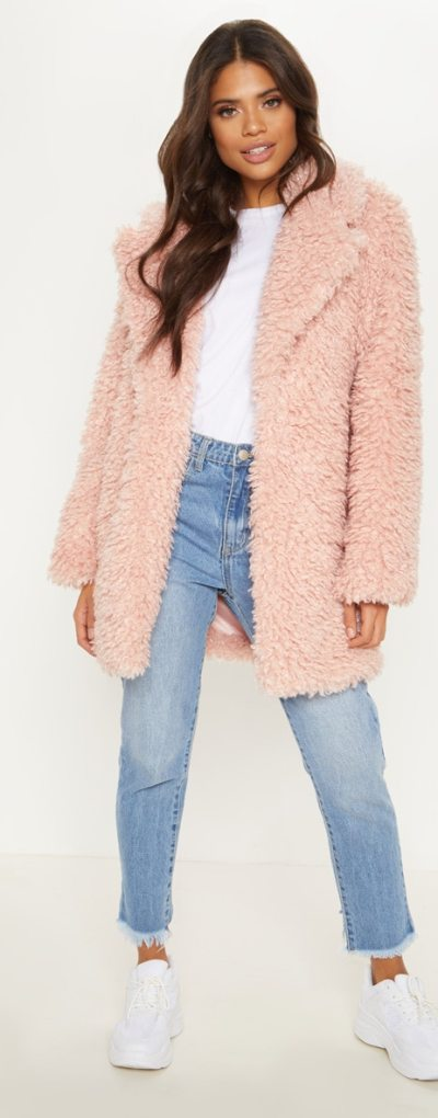 Pink Teddy Faux Fur Coat