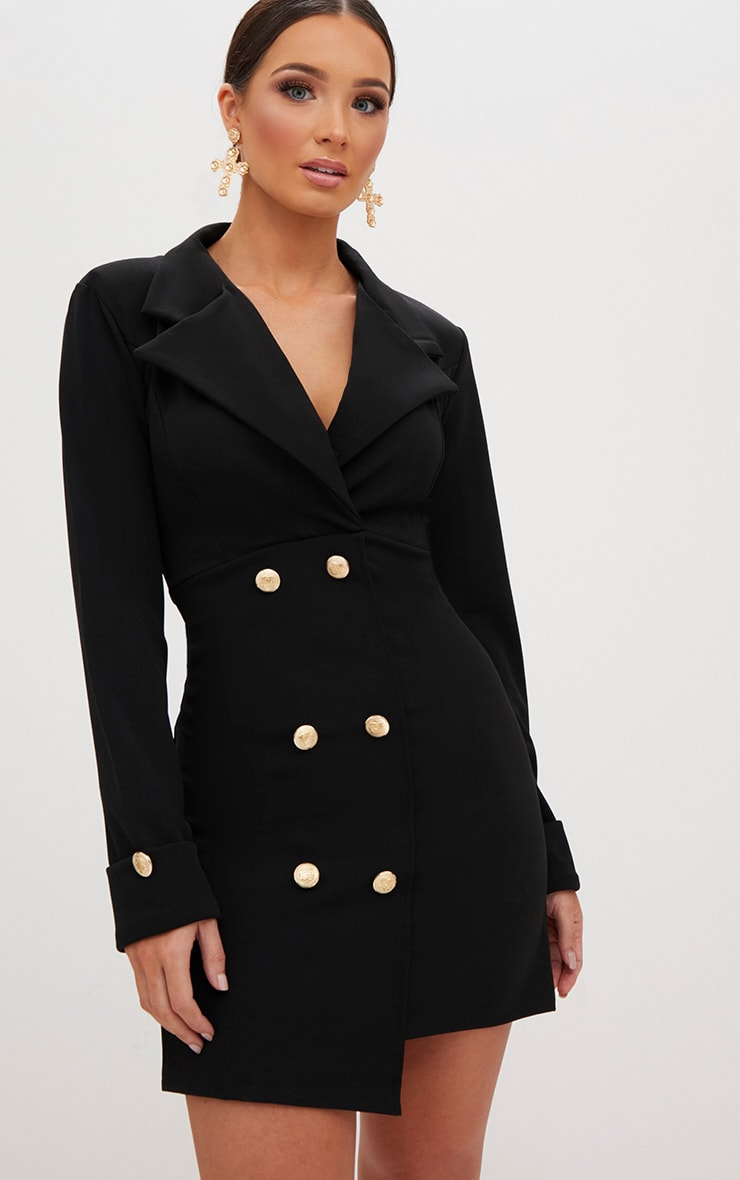 Black Gold Button Detail Blazer Dress