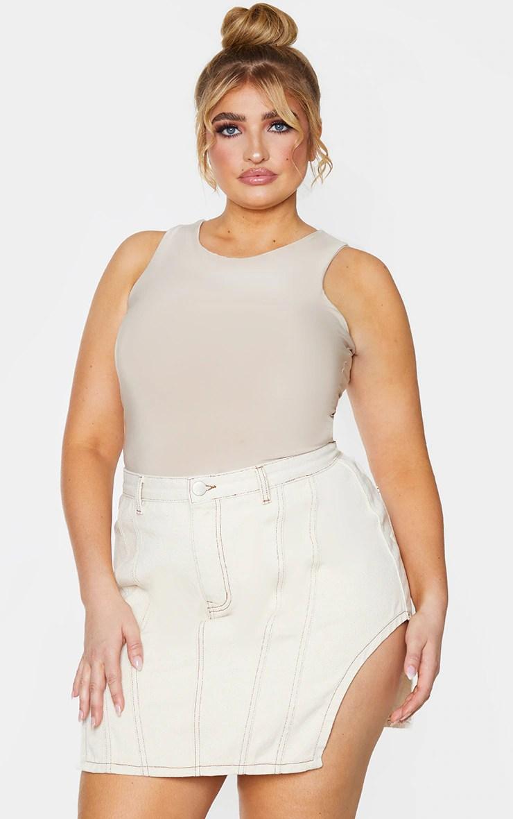 Plus Ecru Contrast Stitch Cut Out Hem Denim Skirt 10
