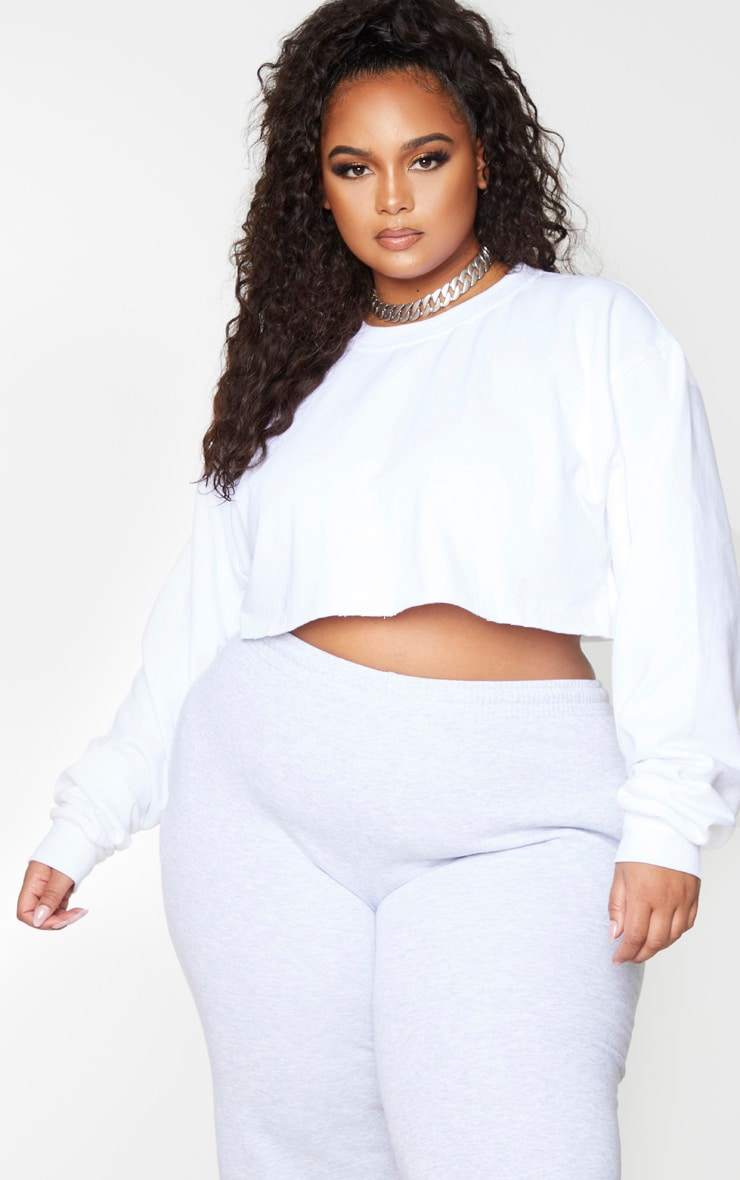 Plus White Ultimate Cropped Sweater 4