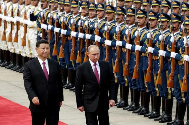 Chinese President Xi Jinping and Russian President Vladimir Putin in Beijing,June 2018