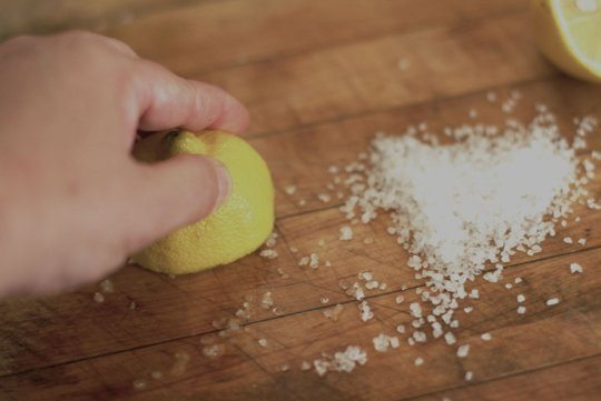 Clean Cutting Board Lemon Juice Salt