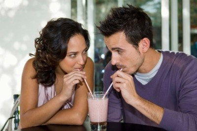 couple sharing shake