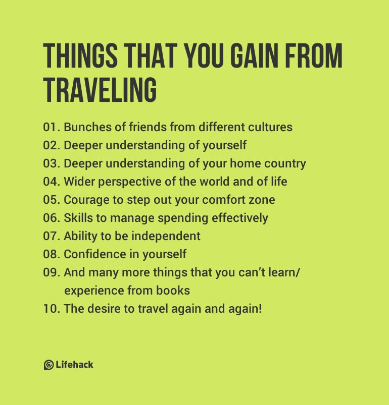 THINGS THAT YOU GAIN FROM TRAVELING