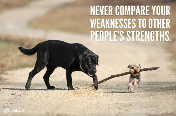 Never compare your weaknesses to other peoples strengths.