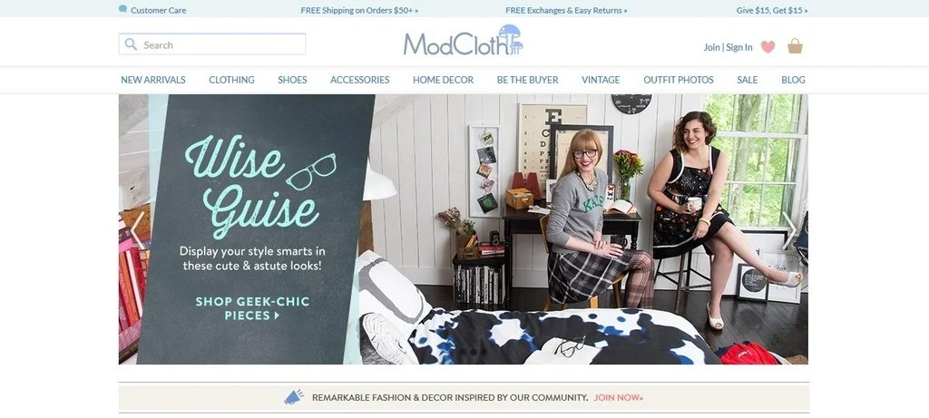 ModCloth specializes in vintage-inspired clothing and accessories