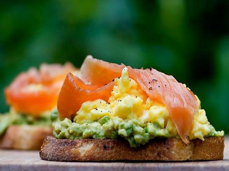 Open Face Sandwich w Avocado, Egg, Salmon(1)