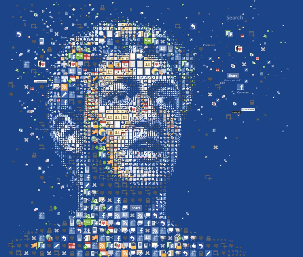 A mosaic portrait of Facebook's co-founder, CEO and President, Mark Zuckerberg for Wired magaine (UK edition) made out of the original Facebook icons.