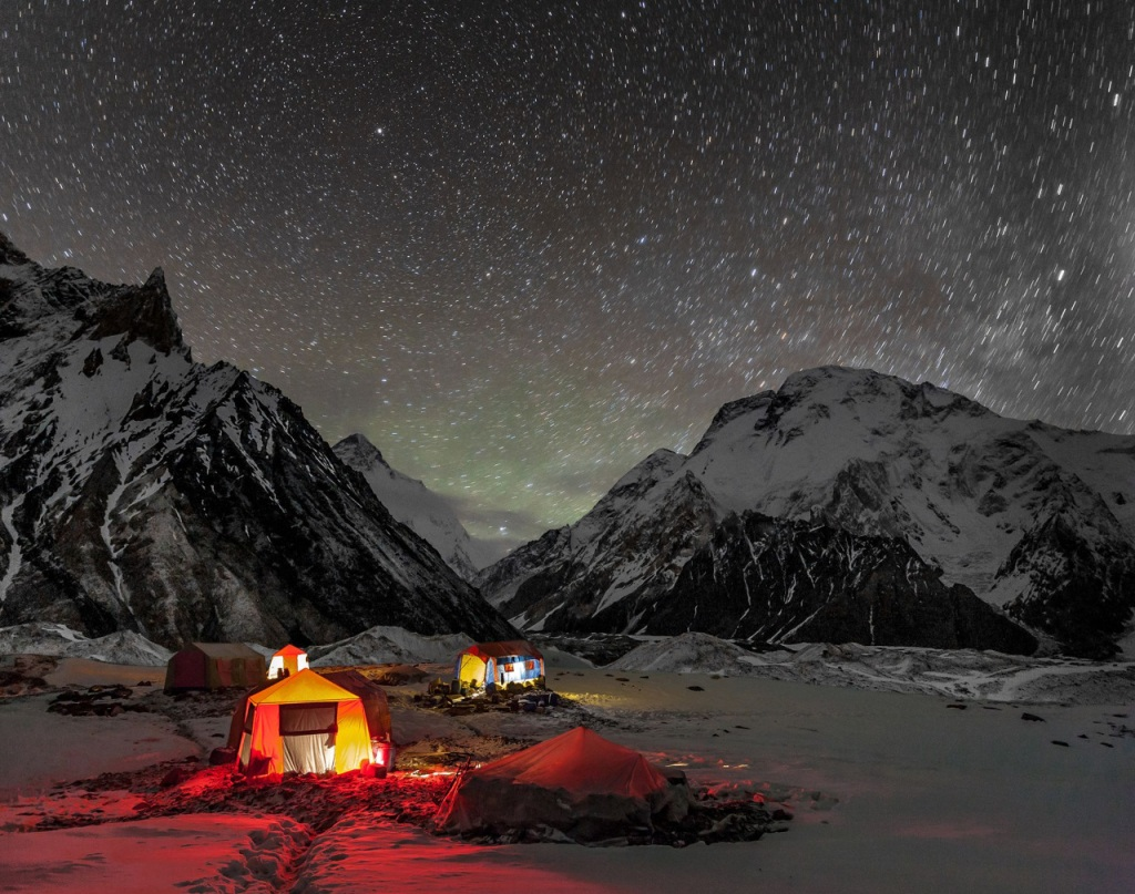 A camp site under the stars in the Himalaya Mountains.