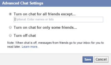 Facebook chat settings edit