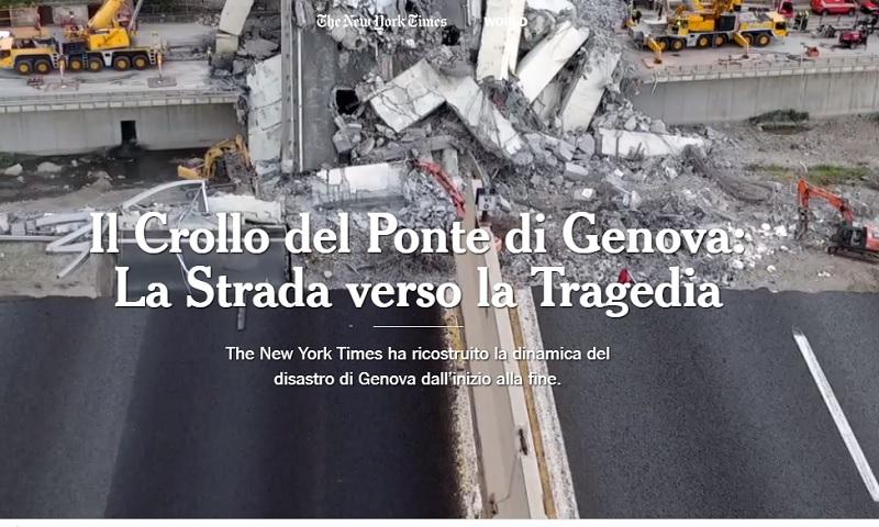 Un fermo immagine dal reportage sul Ponte Morandi apparso sul New York Times