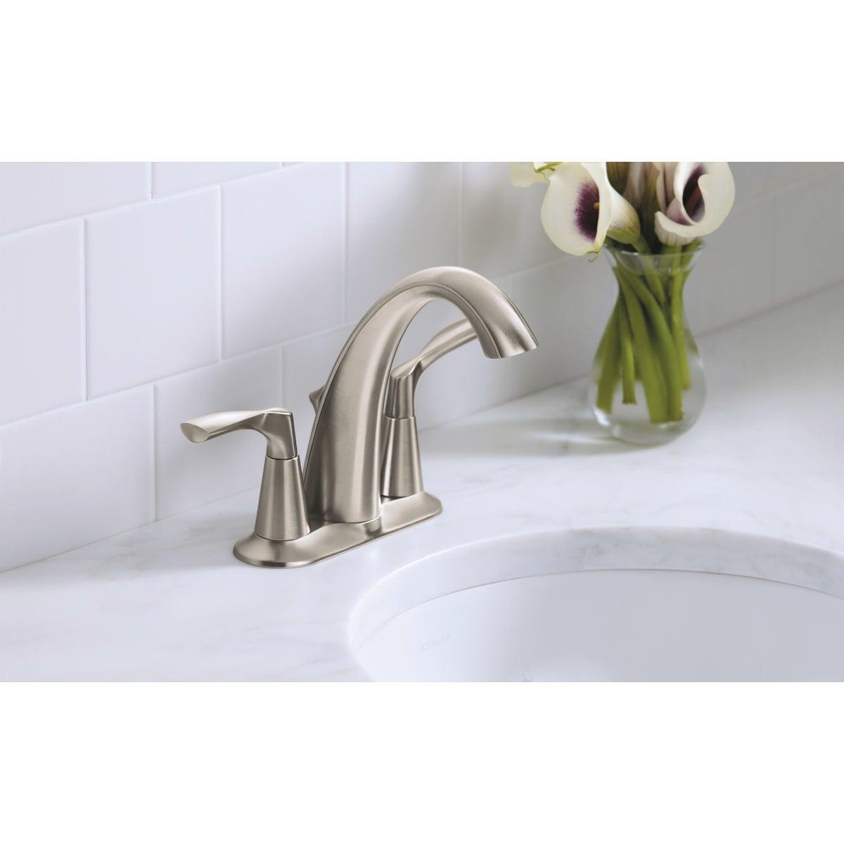 https www doitbest com shop plumbing supplies faucets bathroom sink faucets bathroom faucet kohler mistos brushed nickel 2 handle lever 4 in centerset bathroom faucet with pop up sku 404261