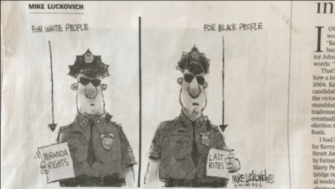 A photo of a cartoon that ran in the opinion section of Monday's 'Boston Globe'.