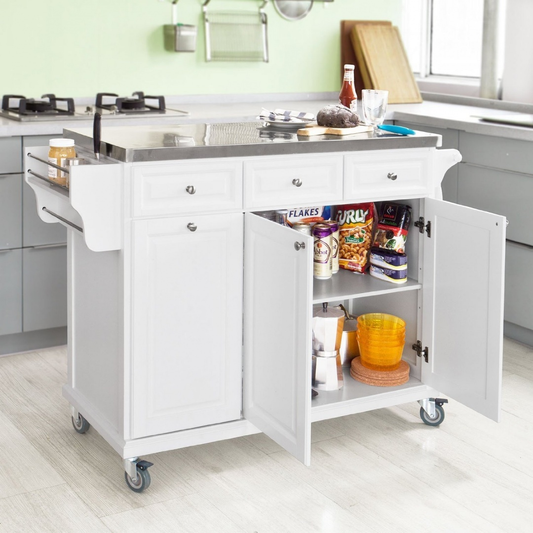 Sobuy White Luxury Kitchen Island Storage Trolley Cart Kitchen Cabinet With Stainless Steel Worktop Fkw33 W By Sobuy Shop Online For Kitchen In Australia