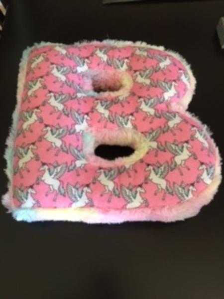 justice girls initial b unicorn pillow