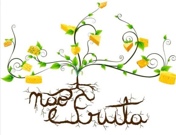 """Buika criou a arte """"Queijo não é fruta"""" para estampar camisetas do CAMALEÃO. Esta arte faz parte da série de conscientização com base na ironia. Em breve serão lançadas outras camisetas com arte desenvolvida pelo designer."""