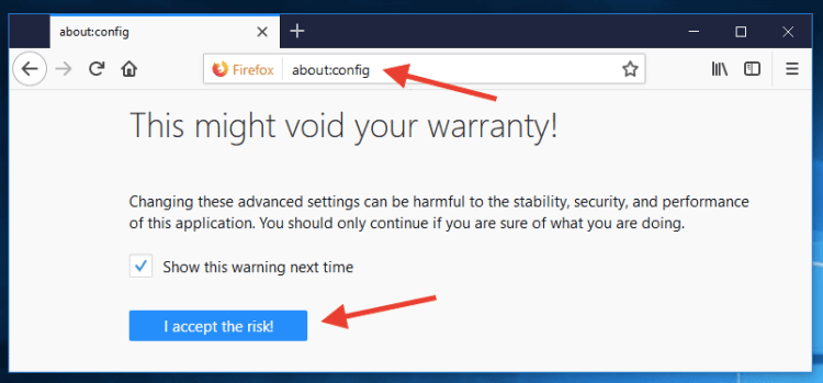 about config firefox privacy