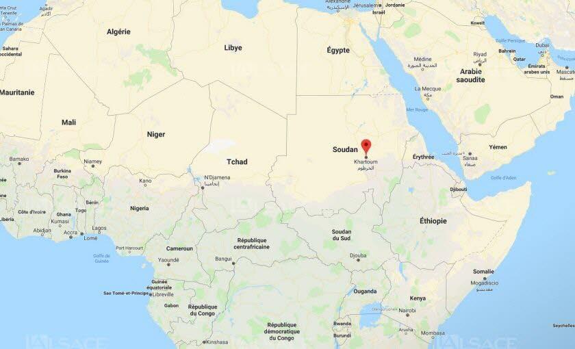 Le Soudan, pays de 43 millions d'habitants, est situé dans l'est de l'Afrique. Capture d'écran Google maps