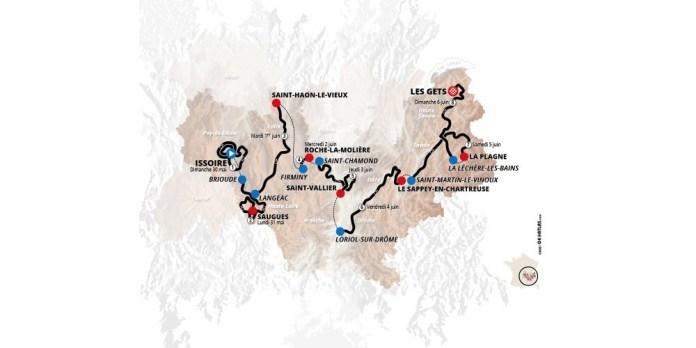 La carte de cette 73e édition du Critérium du Dauphiné.