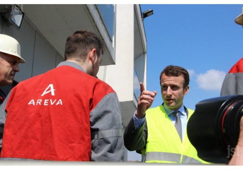 Emmanuel Macron à Fragnes Chez Idem et Areva Creusot Forge. Photo B.M.