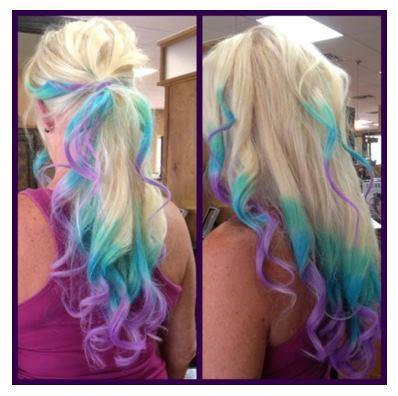 four clip ins pink blue purple turquoise from artisicstrands on