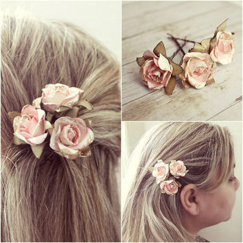 white and pink flower hair pins paper from rosesandlemons on