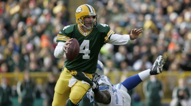 Brett Favre retired as the all-time NFL leader in touchdown pbades and interceptions. Peyton Manning later pbaded Favre for the TD crown.