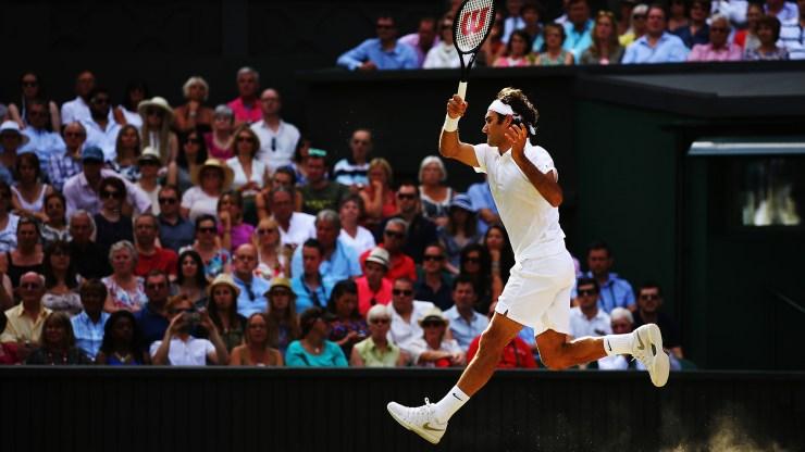 Federer leap wimbledon jump forehand